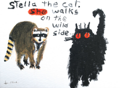 Stella the cat, she walks on the wild side